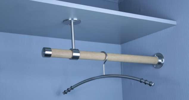 Edelstahl Holz Garderobenstange für Regal-Wand-Schrank Montage