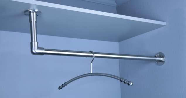 Edelstahl Garderobenstange Kleiderstange L-Form aus 25x2 mm VA Rohr geschliffen