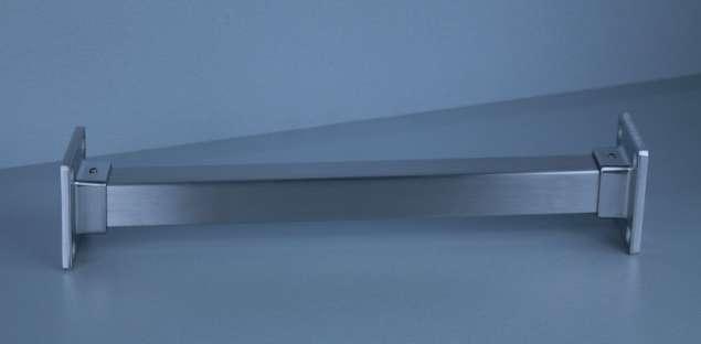 Edelstahl Garderobenstange / Kleiderstange Wandflansch 30x30 mm Vierkantrohr
