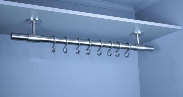 Edelstahl Kleiderstange Garderobenstange Garderobe für Wand oder Regal gebürstet