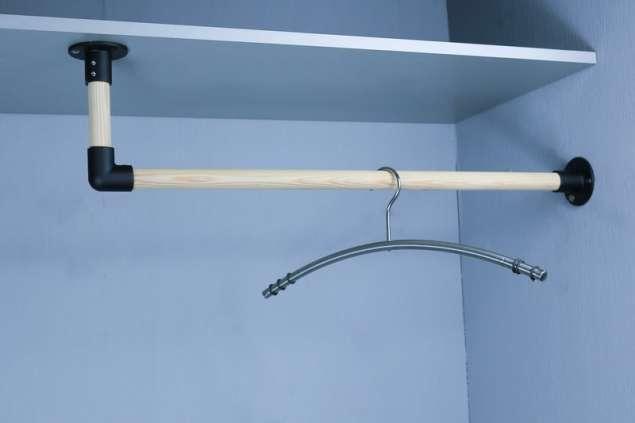 Garderobenstange L-Form Kleiderstange aus 25 mm Holzstab Schwarz