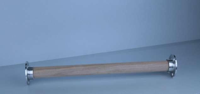 Edelstahl - Holz Garderobenstange - Kleiderstange - Wandflansch