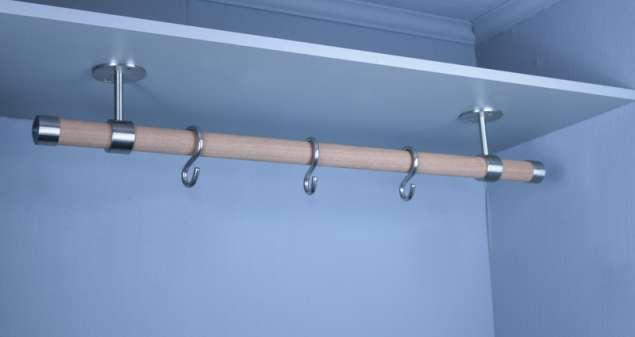Edelstahl Holz Garderobenstange Kleiderstange für Regal-Brett Montage