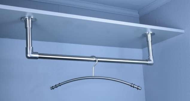 Edelstahl Garderobenstange U-Form Kleiderstange aus 25x2 mm VA Rohr geschliffen